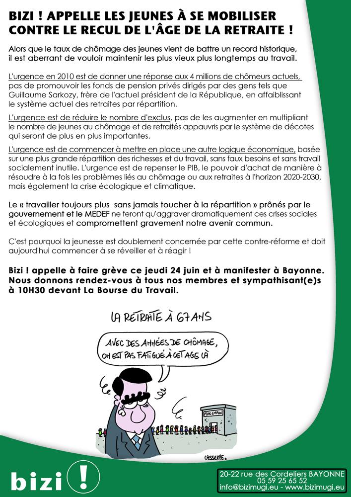 Bizi Appelle Les Jeunes A Se Mobiliser Contre Le Recul De L Age De