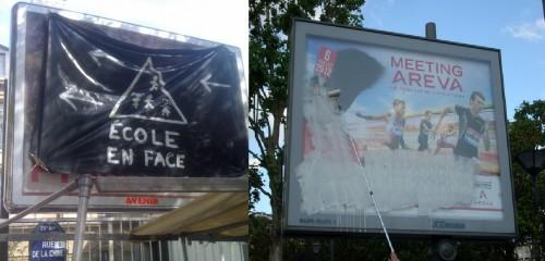 Recouvrement (à gauche) et barbouillage au blanc d'Espagne (à droite)